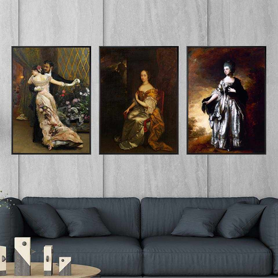 Print Canvas Decoration Picture Wall Art Poster Canvas Painting The whole body portrait of the European Court oil painting lady