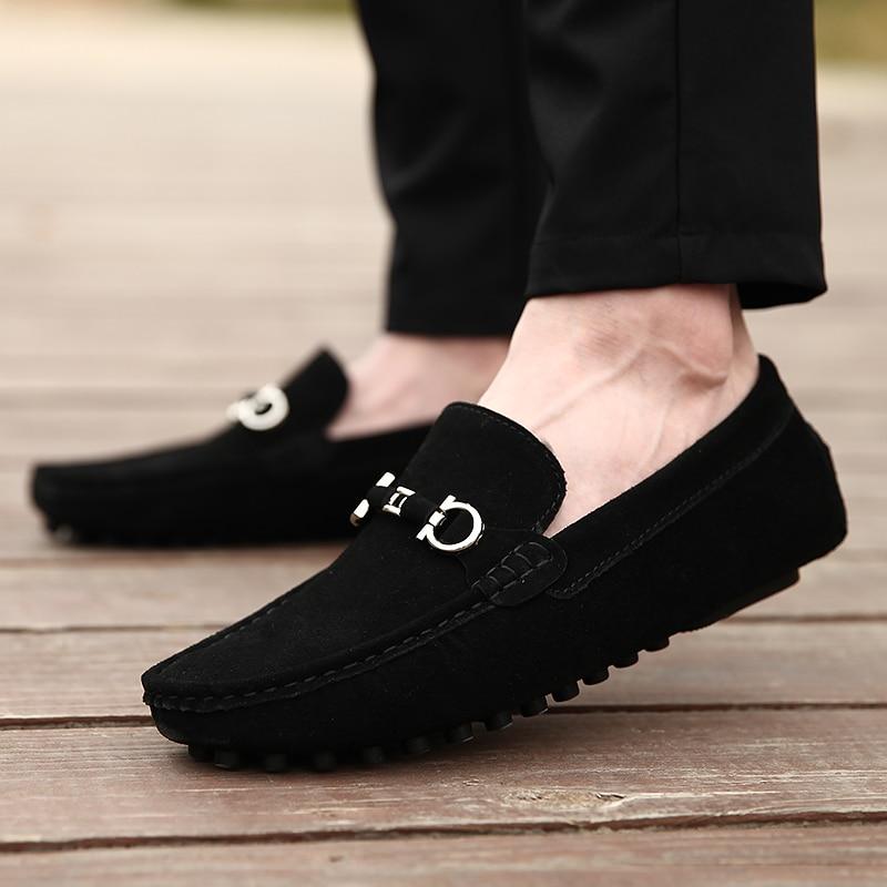 Mocassins Taille Casual gris Noir Gris Hommes bleu Confortable Mens 2019 Chaussures On Cuir Grande En Conduite Noir Slip Nouveau qfPwWSI