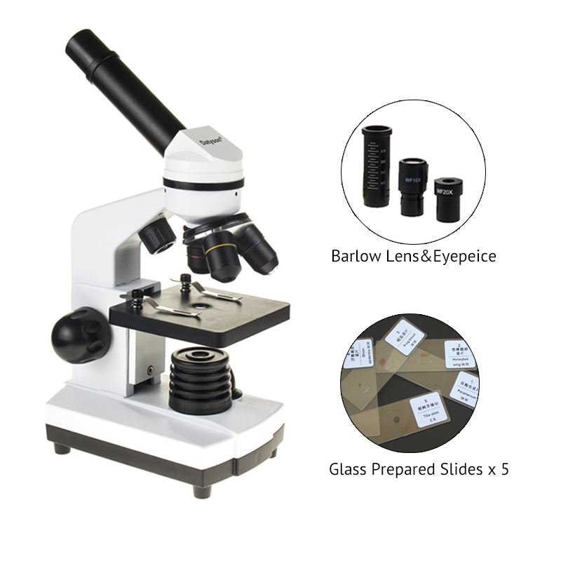 Professional Biological Microscope 1600X Students Educational Science Lab With 5 Piece Glass Microscope Prepared Slides 91pcs professional glass biological microscope prepared slides lab specimens
