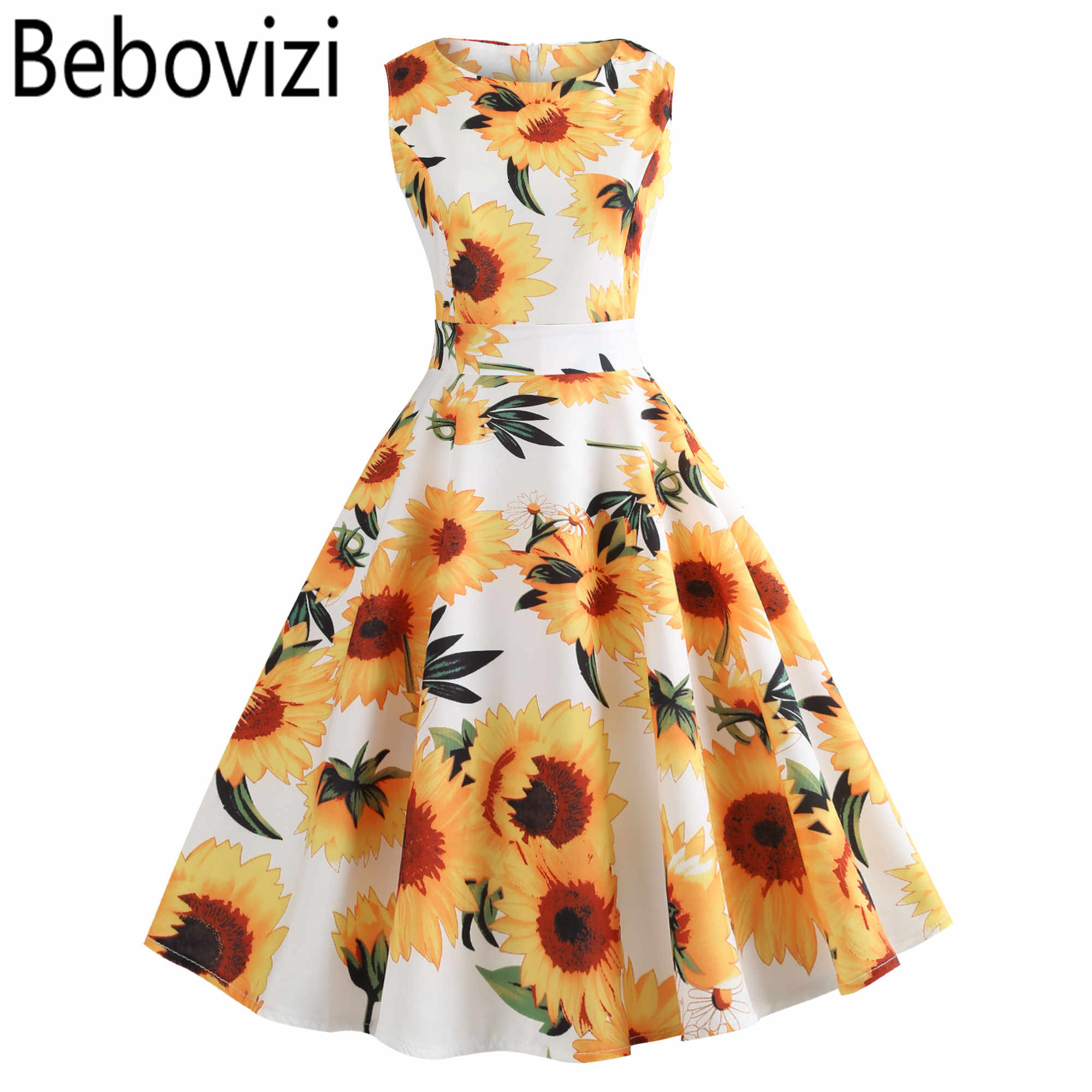 2019 Yellow Sunflower Plus Size Vintage Dress Robe Femme Casual Elegant  Summer Clothes O-neck Party Beach Midi Dresses for Women