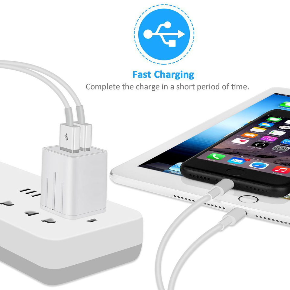 2.1A Dual Port USB Charger Plug for Apple iPhone iPad Mini 2 3 4 Air 2 Airpods 12W Original Small USB Wall Charger US Plug 2A 1A 13