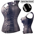 Black Spiral Steel Boned Steampunk Overbust Corset Bustier Top Dress SEXY G-string Lingerie Women Corsets Plus Size S-6XL