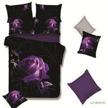 2017 Nuevo HD 3d ropa de cama ropa de cama rosa duvet cover set algodón poliéster ropa de cama 3d juego de cama queen juego de cama 4 unid adultos púrpura