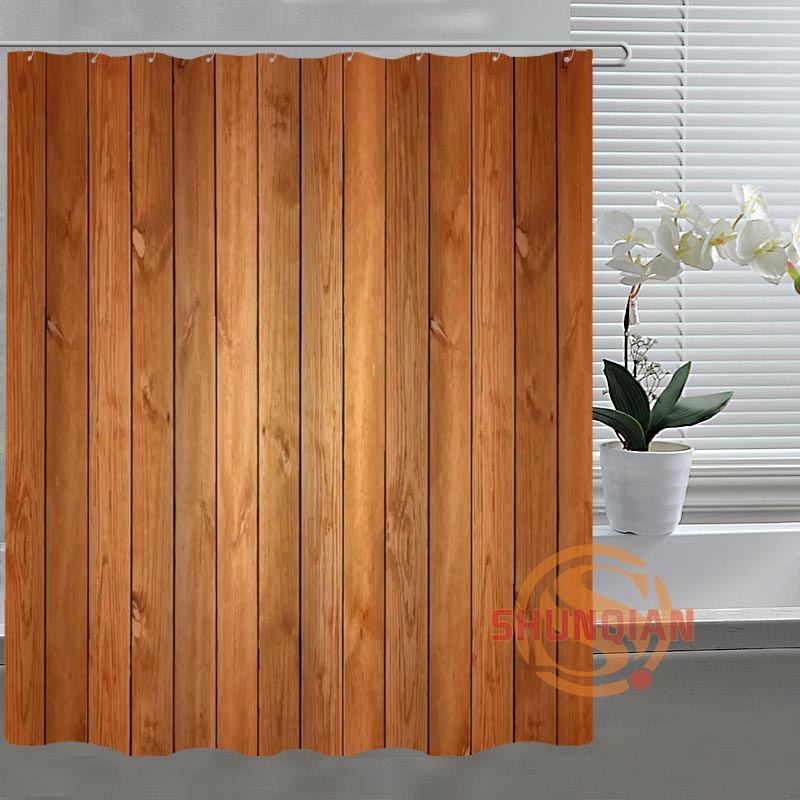 New Fashion wood Custom Shower Curtain Fabric polyester Bathroom Curtain Acceptable Custom curtain for bath room