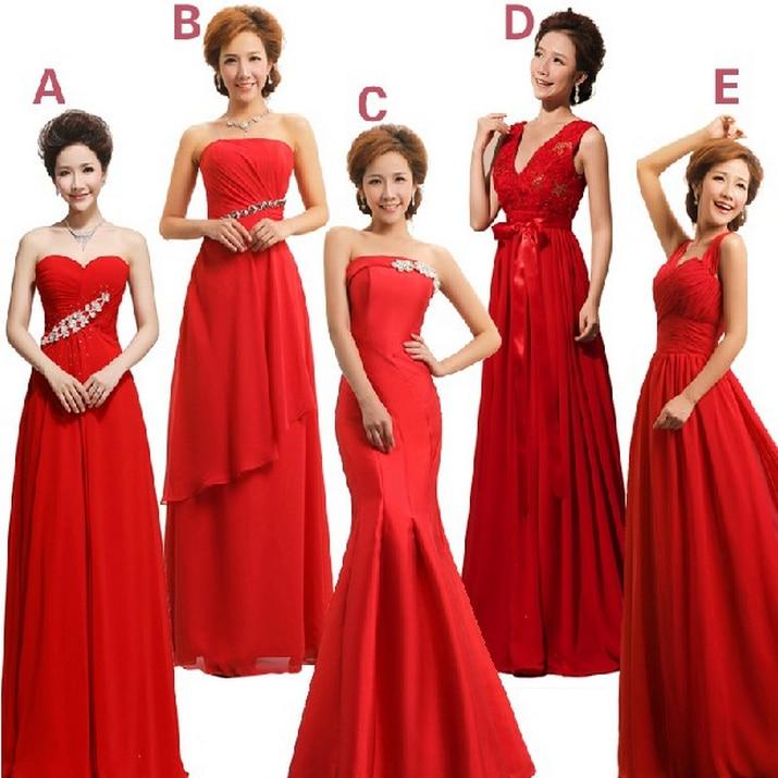 Ladies Red Chiffon Sexy Bridemaids Girls Dinner Dresses 10