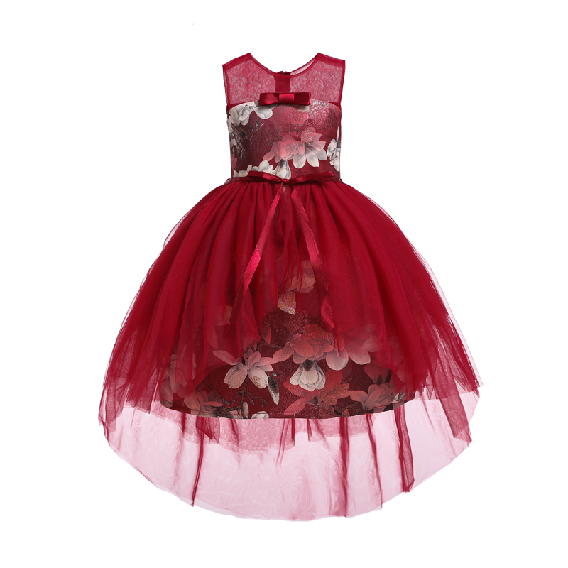Wine red Girls party evening dress Kids Dresses for girls ...