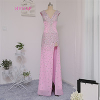 Dressgirl Pink 2016 Prom Dresses Mermaid Cap Sleeves Backless Crstals Sexy Slit Long Prom Gown Evening