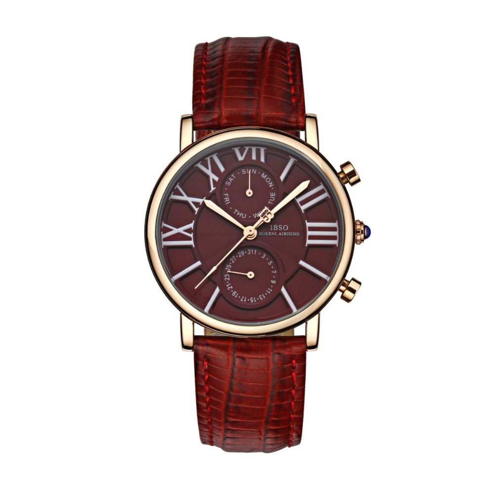 IBSO Womens Casual Watch Date Day Rose Gold Tone Wrist Watches Genuine Leather Strap Quartz Watch 6802