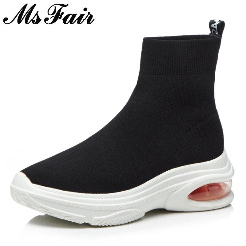 MSFAIR bout rond plate-forme femmes bottes mode mixte couleurs plates bottines femmes hiver chaussures à tricoter bottes chaussures pour femme