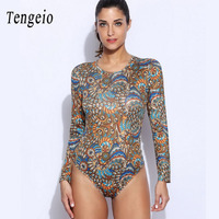 Sexy Spandex Bodysuit Women Romper Long Sleeve Bohemia Printed O Neck Tight Summer Overalls Playsuit Combinaison