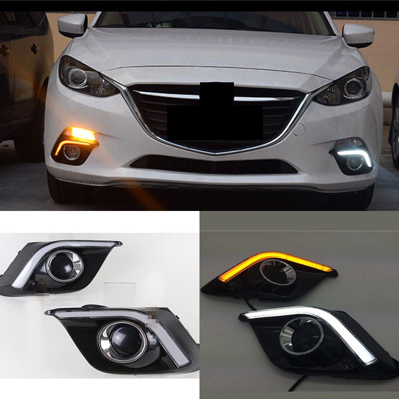 цена на 12V LED Car DRL Daytime Running Lights Fog Lamp Cover For Mazda 3 Axela 2013 2014 2015 2016 With Turn Signal