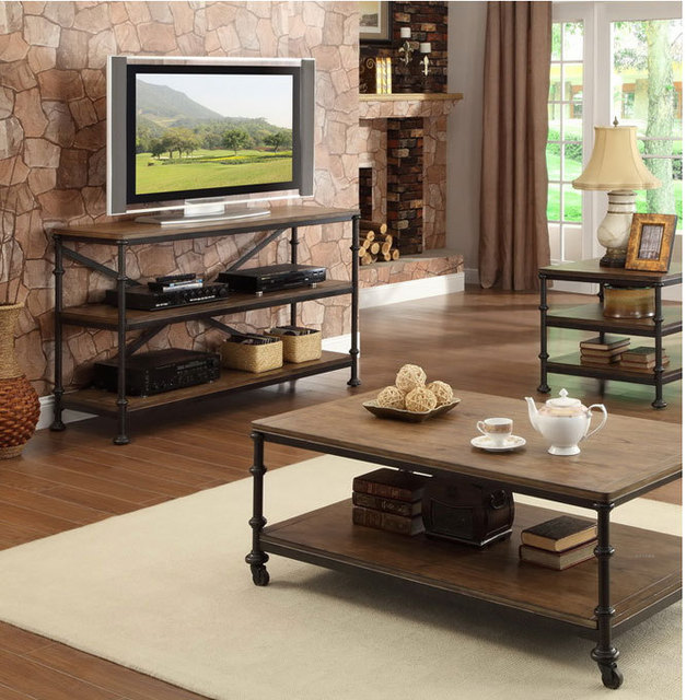 American country wrought iron wood retro bedroom TV