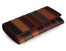 J.M.D 3 Design Patchwork Genuine Leather Clutch Bag Women Vintage Wallet  8093