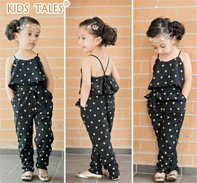 YZ262 New Fashion Baby Girl Sling Clothes Girl Summer Style Strap heart-shaped Onepiece Jumpsuit Set Kids Clothes Retail