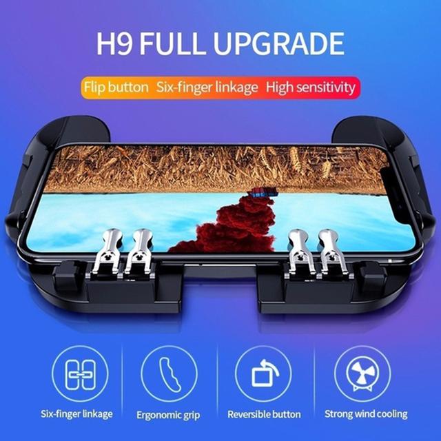 H9 six finger plug-in mobile phone radiator controller joystick trigger game shooter PUBG mobile game controller Plug-in gamepad