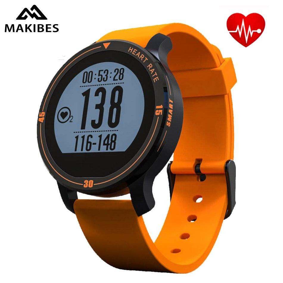 Prix pour En stock makibes g01 gps smart watch coeur taux hauteur course vitesse en plein air gps trajectoire fitness tracker smart watch