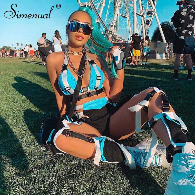 Simenual Buckles Festival Fashion Matching Sets Women Patchwork Sexy Crop Top And Shorts Two Piece Sets Summer 2019 Outfits Slim