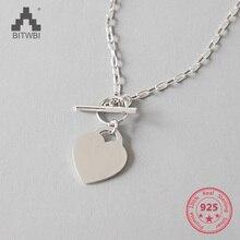 100% 925 Sterling Silver Eliza White Coin Pendant Short Clavicle Necklace Chain Ornament