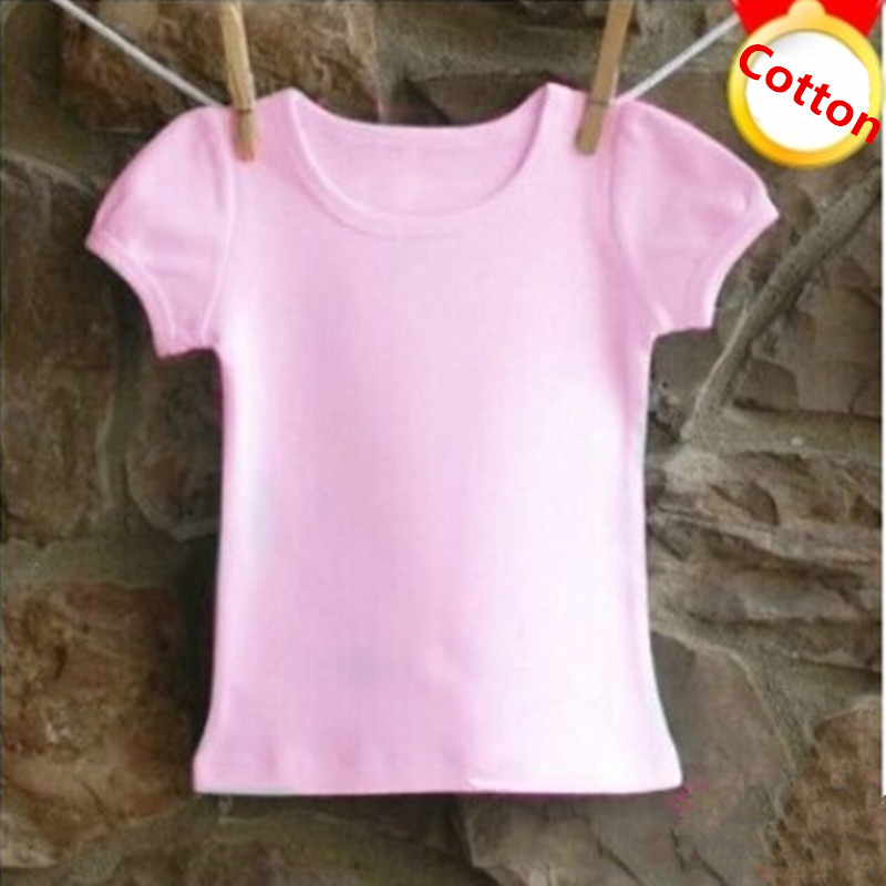 Children short-sleeve T-shirt cotton summer Kids casual Plain T shirt baby o-neck top tees pink white solid color 0-12 years round neck quick dry solid color short sleeve men s t shirt
