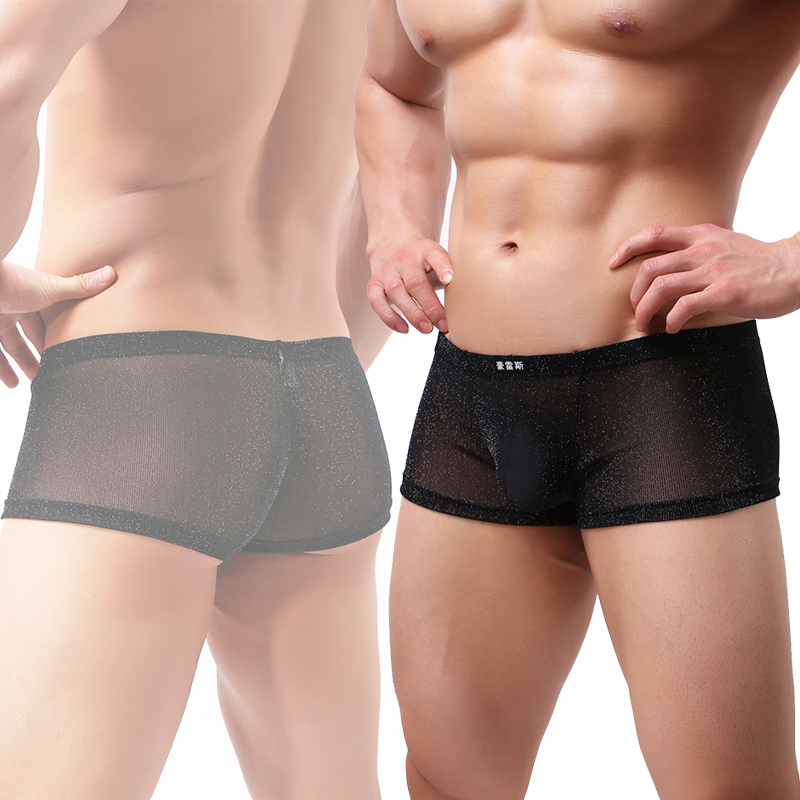 Men Underwear Boxers Sexy Comfortable Transparent Slip Men Boxer Mesh Hollow Solid Ice Silk Gay Male Lots boxers 2018 Hot Boxers