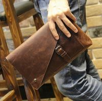 New Vintage Leather Envelope Bags Large Capacity Zipper Mens Clutches Wristlet Purse Handbag Elegant Evening Bag Mobile Pouch