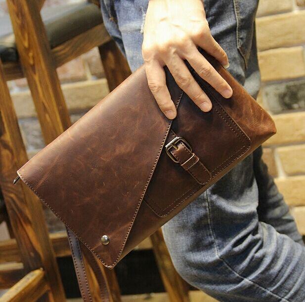 Novo vintage sacos de envelope de couro grande capacidade zíper dos homens embraiagens wristlet bolsa elegante noite bolsa móvel