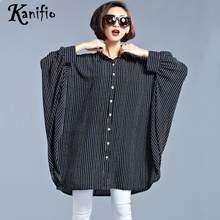 0da27f5f844 Kanifio более Размеры d Костюмы плюс Размеры Для женщин полосатый блузка  дамы с рукавами «летучая мышь» рубашка Повседневное сво.