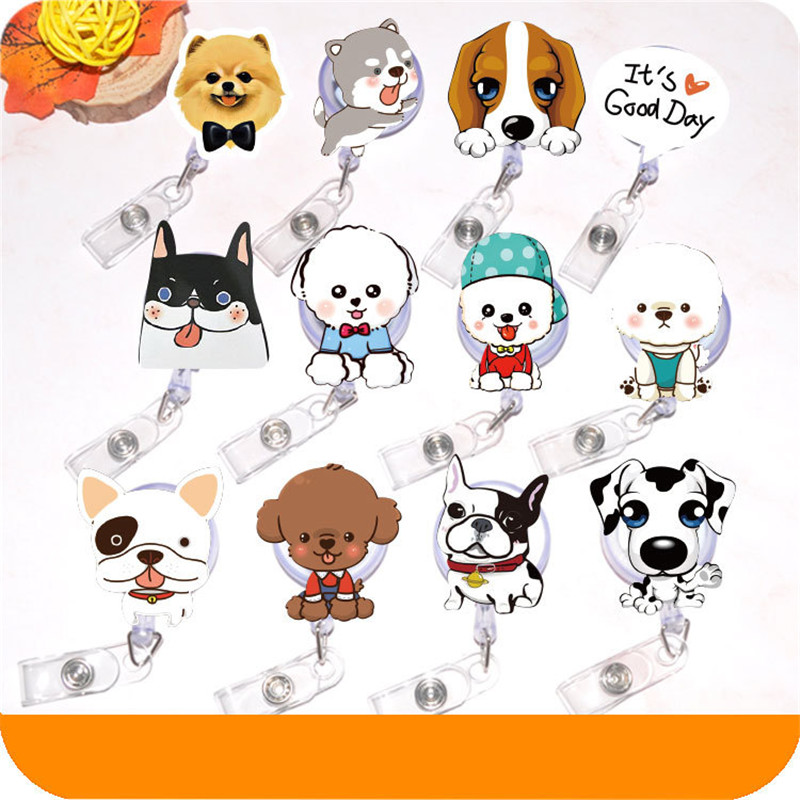 10pcs/lot Kawaii Dog Office & School Supplies Badge Holder Retractable Ski Pass ID Card Badge Name Tag Holders Anti-Lost Clip