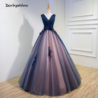 Real Photo Ladies Evening Dresses Royal Blue V Neck With Flower Long Plus Size Tulle Prom