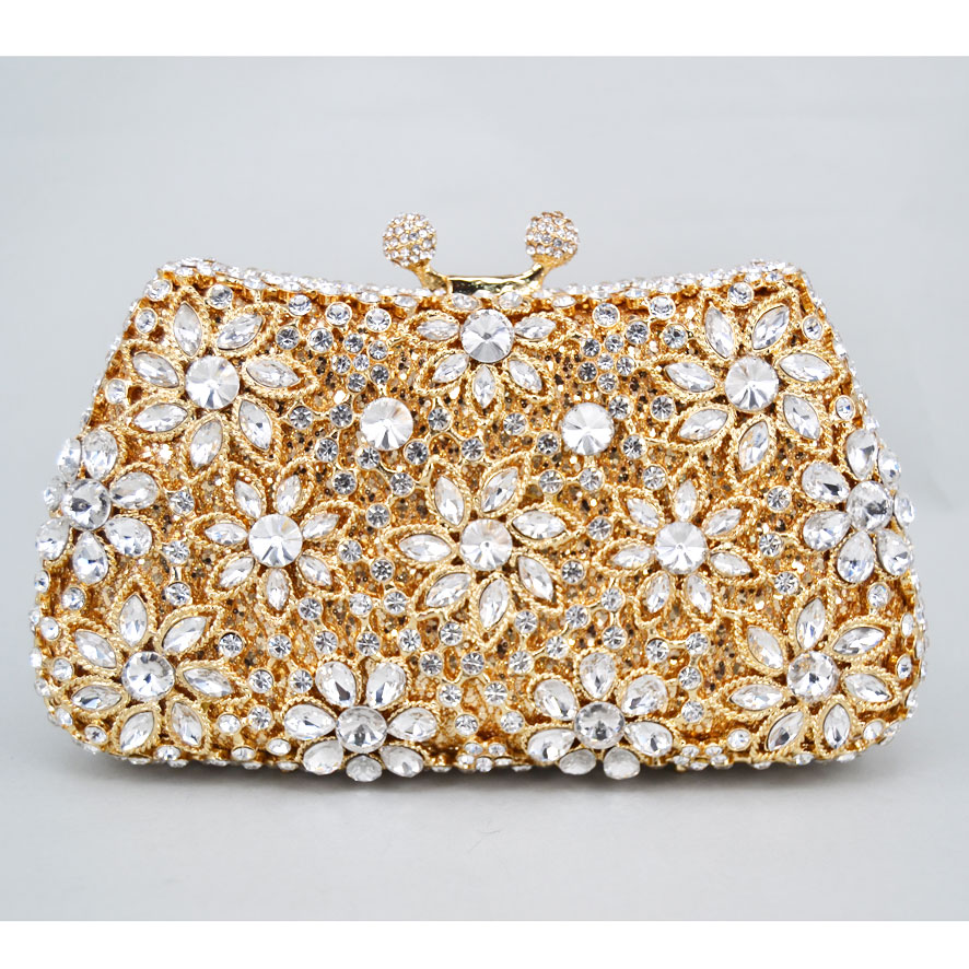 Luxury Evening Bag Gold Silver Diamond Party Purse Women Party Wedding Bridal Chain Handbags Mini Shoulder Bag