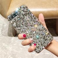 For LG G5 G6 G7 G8 G8S ThinQ Q7 Q6 K40 K8 K10 2017 V10 V20 V30 Q Stylo 4 Full Rhinestone Case Gray Diamond Cover Handmade