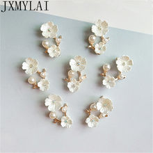 10 pces 1.7*2cm 1.5*2.5cm moda metal liga imitação pérola flores conectores charme para fazer jóias