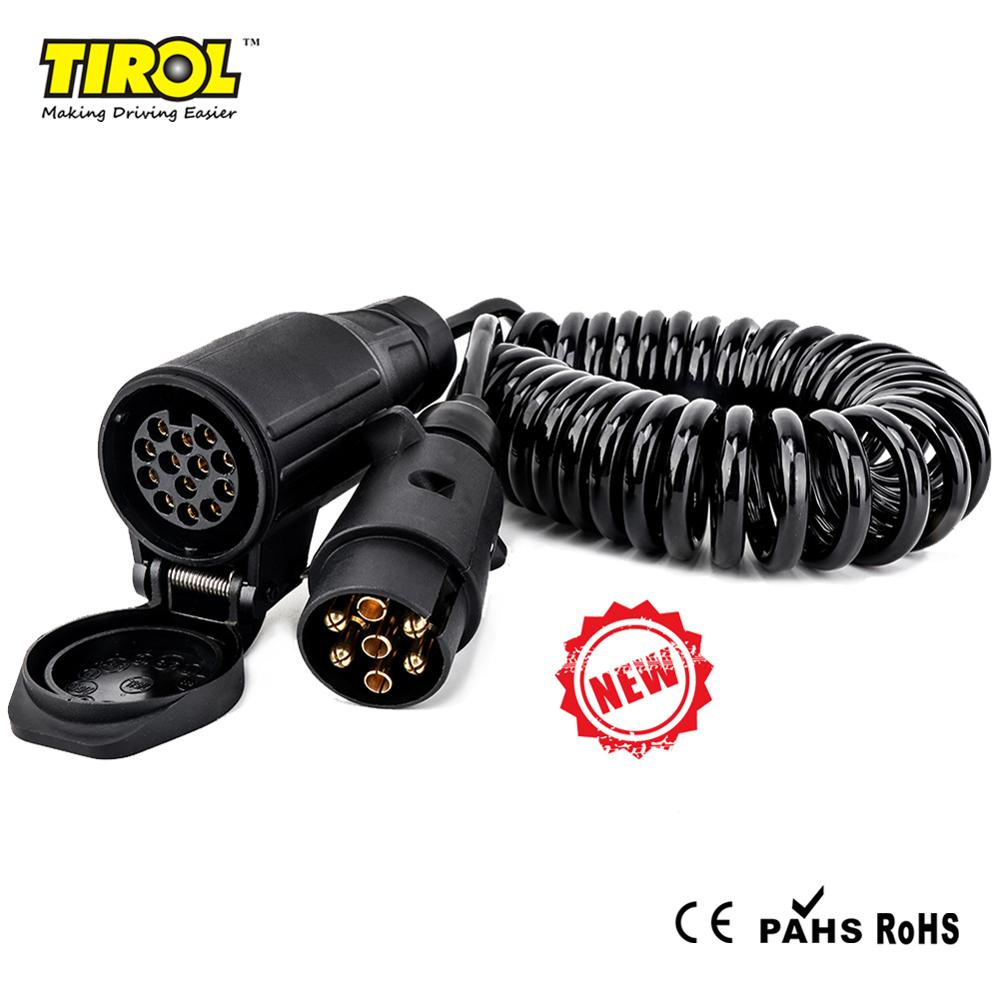 12V 13-Pin Round European Caravan Trailer Plug Spring Coiled Cable 4 Meter
