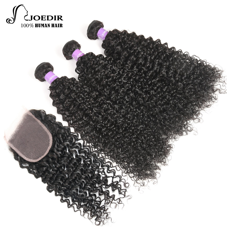 Joedir Hair Brazilian Kinky Curl Natural Black Color 10 To 26 Inch 3 Bundles With 4x4 Lace Closure Free Part Human Hair