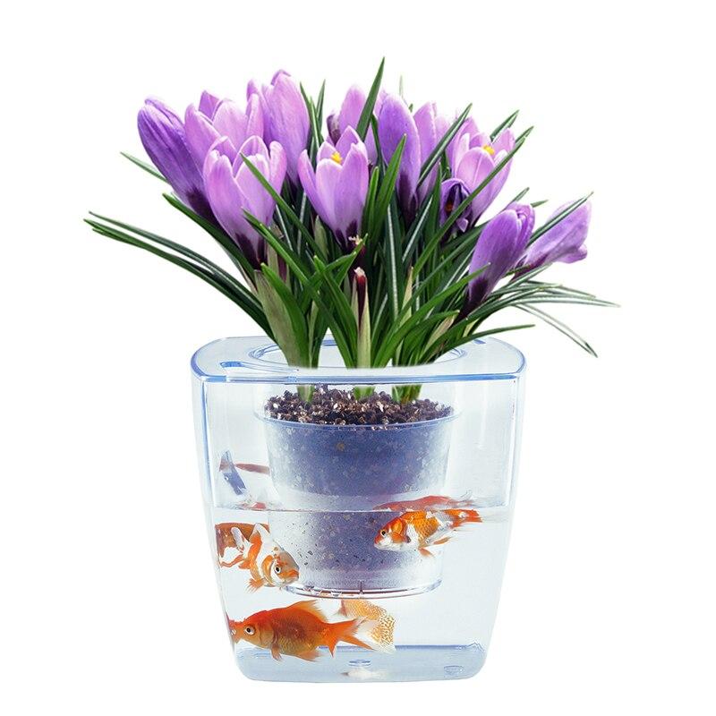 Creative Flower Pot Fish Tank Cachepot Minimalism Balcony Decor Planter Transparent Plastic Bonsai Pot Succulent Cactus Orchid