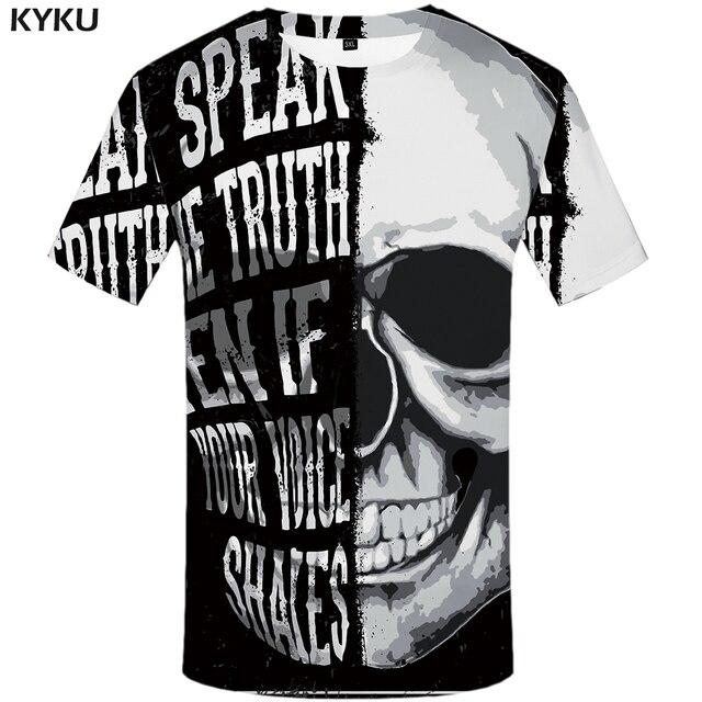 KYKU גולגולת חולצת טי גברים שחור ולבן חולצה פאנק רוק בגדי גותי 3d הדפסת T חולצה מגניב היפ הופ Mens בגדי Streetwear