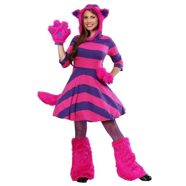 917e0ac0881fbf R$ 209.62 |Deluxe Mulheres Misterioso Gato de Cheshire de Alice No País Das  Maravilhas Adulto Traje Festa de Halloween Animais Cosplay Desempenho em ...