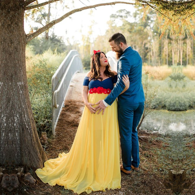 55b9cec6da8 Le Couple Cosplay Princess Maxi Dress Maternity Chiffon Photo Long Dresses  Maternity Photography Props Dress Pregnant