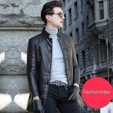 M-5XL! Male Genuine Leather Coat Medium-long Down Thin Outerwear Sheepskin Leather Clothing Leather Jacket Slim Stand Collar