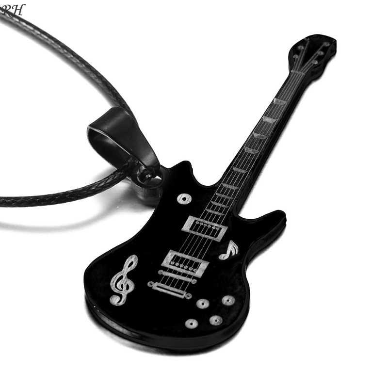 Fashion 316L Stainless Steel Guitar Necklace For Men Pendants Leather Chain Men Necklaces