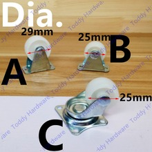 2pcs Dia.25mm/28mm  nylon rubber fixed caster Dia:31mm fixed rolling caster/wheel for chairs/ desks/ furniture