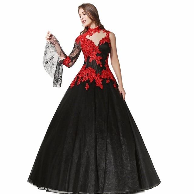 Sexy Black Gothic Ball Gown Wedding Dresses 2017 High Neck One Shoulder Long  Sleeve Floor Length Bridal Dress robe de marriage f15ff969462d