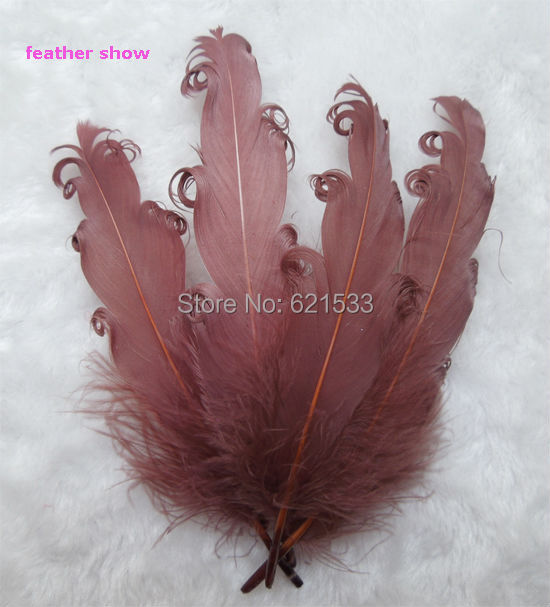 50pcs/lot!Nagorie Feathers Curled Goose Satinettes,Brown Colour,Loose Craft Feathers,Costume Design,Hair Feather,Fascinator