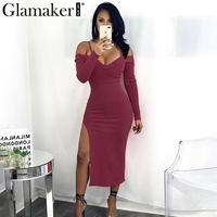 Glamaker Off Shoulder Evening Women Dress V Neck Halter Bodycon Sexy Dress Female Side Split Long