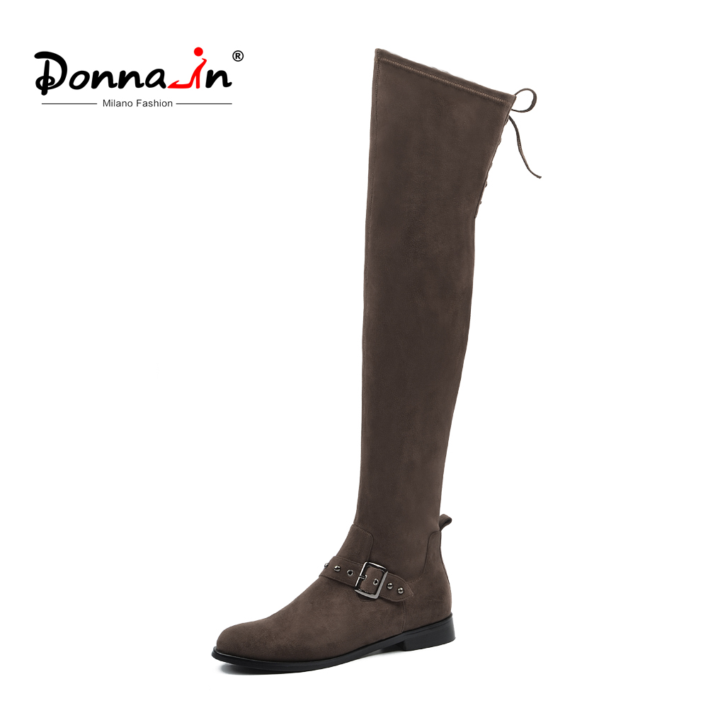 Donna-en Hiver Automne Cuisse Haute Bottes Femmes Haute Genou Bottes Talons Bas Bout Rond Lace Up Zip Sangle confortable Dames Chaussures