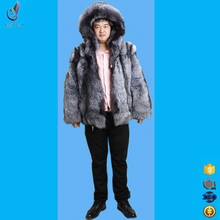 Silver Fox Fur Coats Hooded Genuine Fur Outerwear Coats For Male Long Sleeve High Quality New Style Real Men Coat Natural Fur