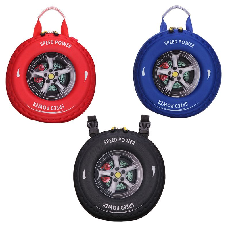 2018 New Car Tire Cartoon 3D Children Schoolbag Backpack Schoolbag Satchel Fashion Zipper Bag For Student