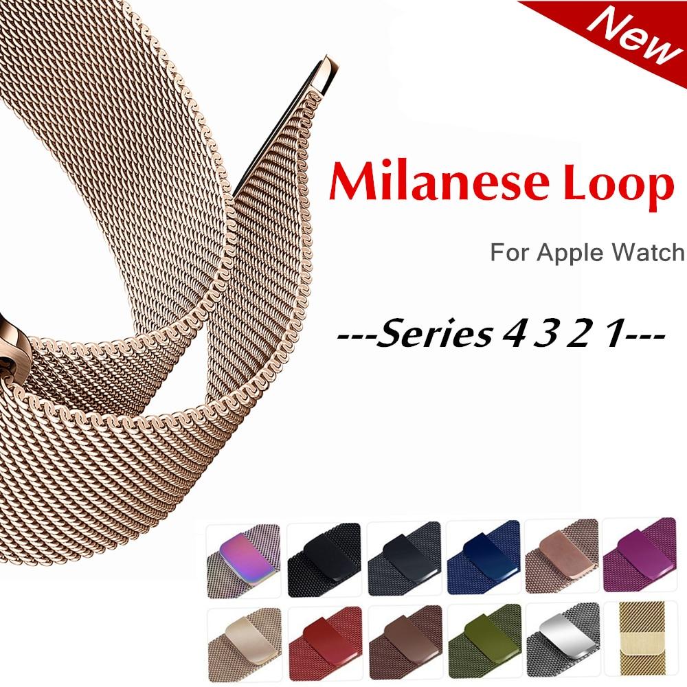 803d6fcbcba CRISTA Milanese Laço faixa de Relógio cinta Para Apple 4 42mm 38mm iwatch 3  44mm 40mm correa 1 2 3 pulso Pulseira cinto de Aço Inoxidável