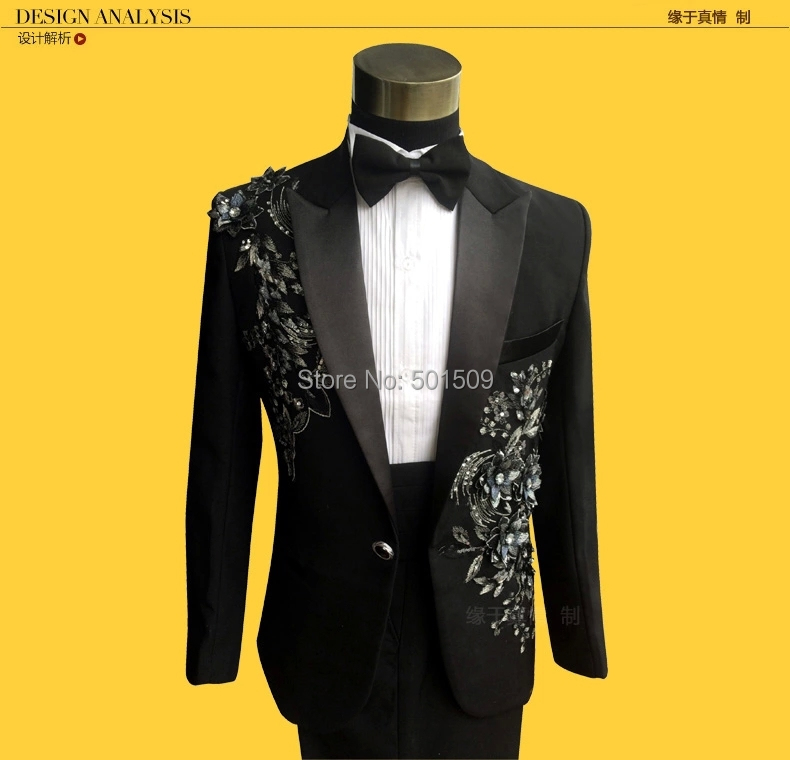 Free shipping mens black floral sequins glitter embroidery tuxedo suit/stage performance jaceket with pants