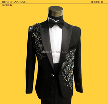 Free shipping mens black floral sequins glitter embroidery tuxedo suit stage performance jaceket with pants